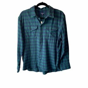Madewell Flannel Cargo Workshirt Green Buffalo L